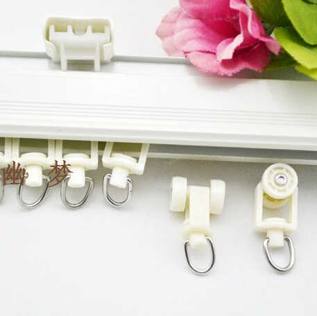 50Pieces/Lot Curtain Rail Accessories Double Pulley Wheels Nano Mute Bag Plastic Pulley Stainless Steel Rings