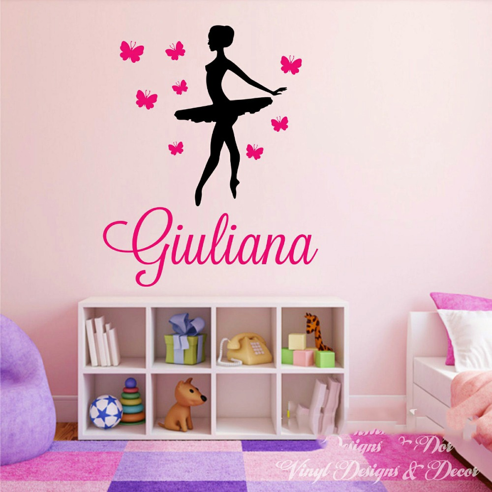 Personalized name ballet ballerina wall decal butterflies dance personalized name ballet ballerina wall decal butterflies dance vinyl decal wall sticker custom made girls name 5 sizes in wall stickers from home garden amipublicfo Gallery