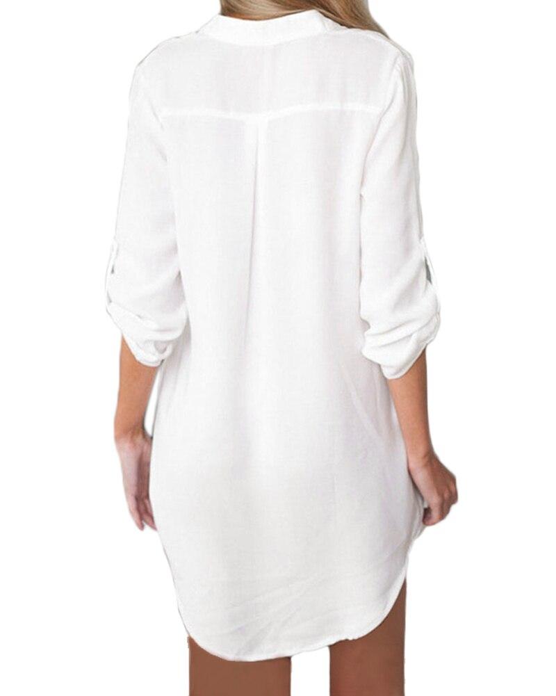 4xl 5xl plus size women chiffon blouse shirt v neck pockets