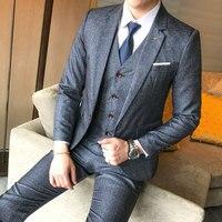 Из 3 предметов брюки + жилет + Куртки мужской костюм все сезоны Slim Fit платье костюм Для мужчин плюс Размеры с длинным рукавом праздничная одеж
