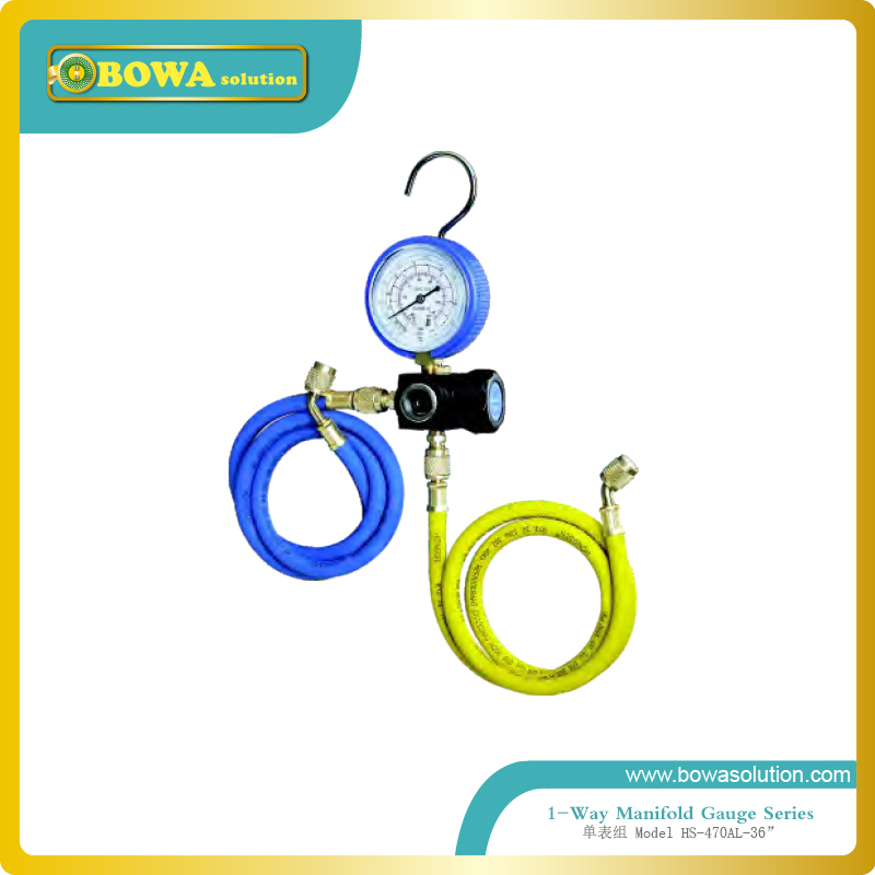 1-Way manifold gauge for R22, R134a and R404 with 36 charging hose