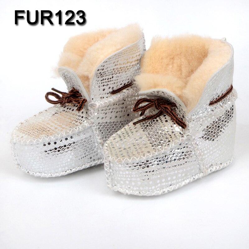 FUR123 100% Sheepskin Winter Baby Boys First Walker For Infant Real Fur Shoes Girls Fashion Wool Fur Boot