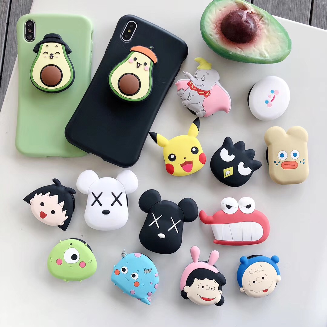 Universal Cute Cartoon Air Bag Cell Phone Bracket Cute Avocado Monsters Dumbo Sakura Phone Stand Finger Holder