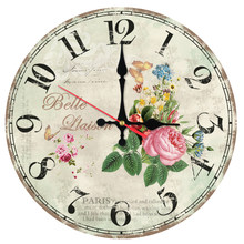 hot sale wall clock wooden clocks quartz watch single face still life sticker modern plant style sofa background home decor(China)