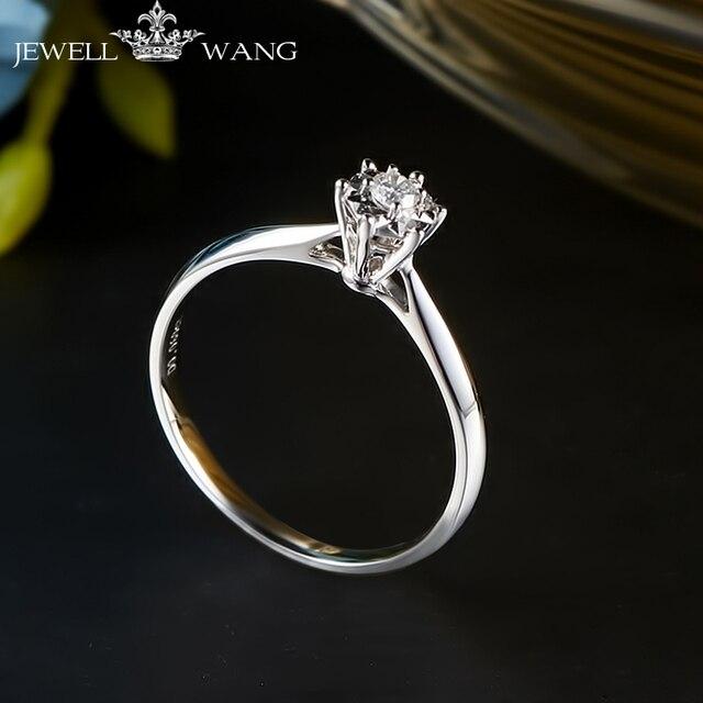 e864fd130677 JEWELLWANG Diamond Ring Round 0.5ct Carat Effect Certified Six Prong  Setting Rings for Women 18K Real White Gold Light Luxury
