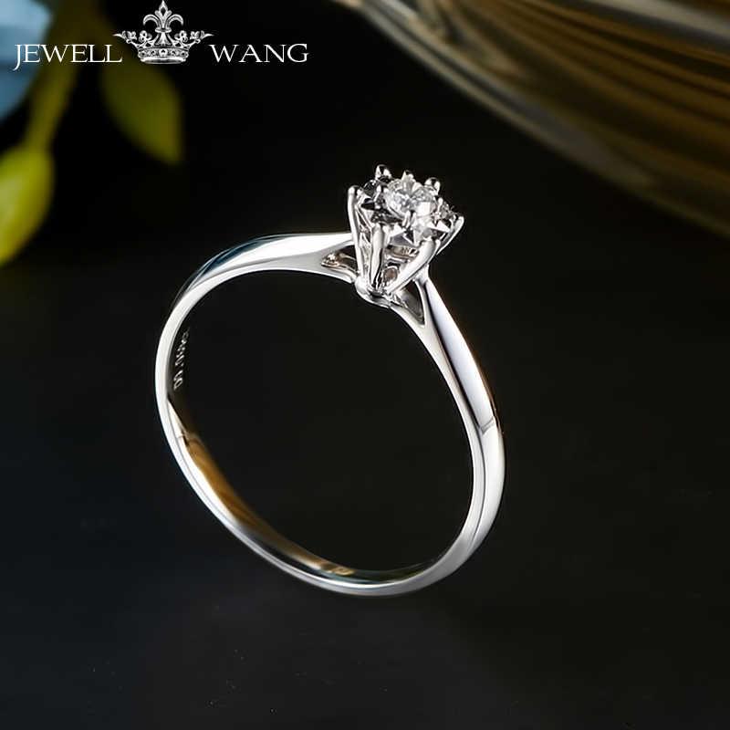 df28db5b1 JEWELLWANG Diamond Ring Round 0.5ct Carat Effect Certified Six Prong  Setting Rings for Women 18K