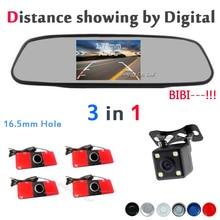 Электромагнитные Датчики Парковки Автомобиля 4 Зуммеры 16.5 мм камеры Автомобиля с Автомобиля ЖК-Монитор Показать Расстояние аксессуары Черный/Серебристый/красный