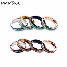 Fashion Mood Rings Lovers Silver Black Titanium Steel Men Women Colors Change With Emotion Temperature Mood Lord Rings Jewelry