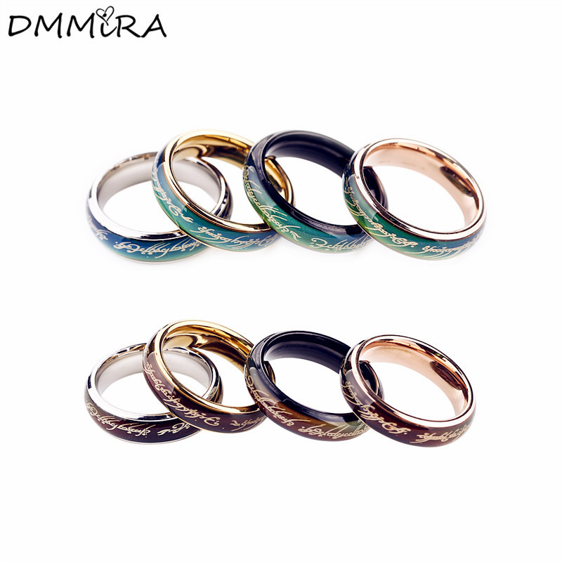 Fashion Mood Rings Lovers Silver Black Titanium Steel Men Women Colors Change With Emotion Temperature Mood Lord Rings Jewelry ...
