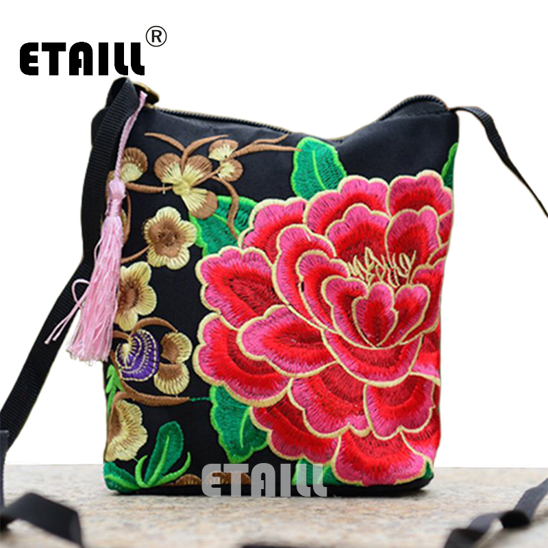 Chinese Women Boho Indian Thai Flower Embroidered Canvas Bag Mobile Phone Camera Money Small Bag Luxury Brand Shoulder Bag Women free shipping vintage hmong tribal ethnic thai indian boho shoulder bag message bag pu leather handmade embroidery tapestry 1018