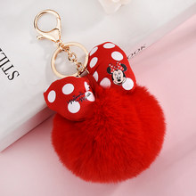 2019 New Mickey Bowknot With Rabbit Fur Ball For Car Keychain Bag Key Ring Jewelry For Women Bag Holder Key Chain Chaveiro(China)