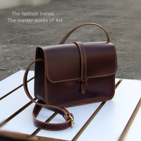 Spring And Summer Handmade Mini Bag Brief Vintage Fashion Preppy Style Genuine Leather Bag