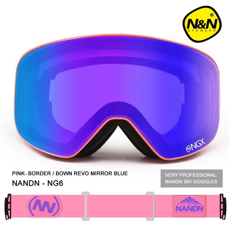 Новый nandn брендовые лыжные очки двойные линзы UV400 Анти-туман взрослых сноуборд Лыжный Спорт очки Для женщин Для мужчин снег очки