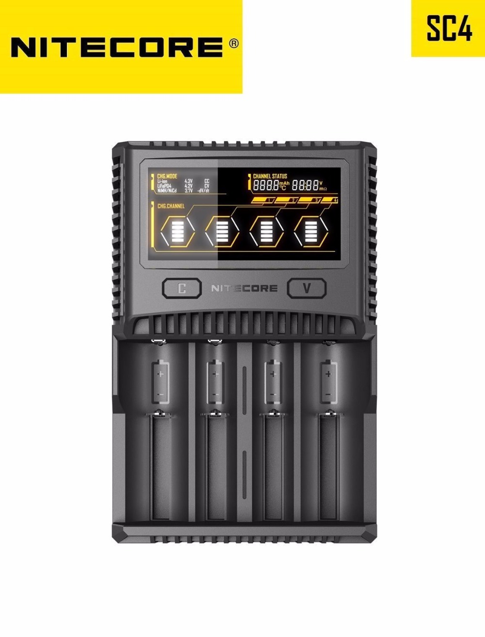 Nitecore SC4 LCD Display USB Rapid Intelligent Faster Charging Superb Charger For Li-ion/IMR/LiFePO4/Ni-MH Battery Charger
