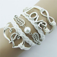 Heart Love Tag Bracelet Jewelry fashion Leather Cute Infinity Charm Bracelet Silver Metal Expandable Wire Bangle Hand Accessorie