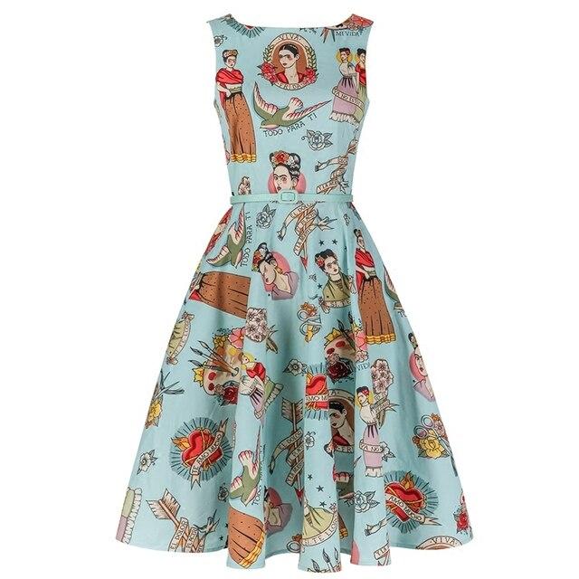 3547bf5864144 autumn women dress vintage 50s blue Ti Amo Frida Kahlo Frock rockabilly  boat neck swing midi dress plus size 4xl pinup vestido