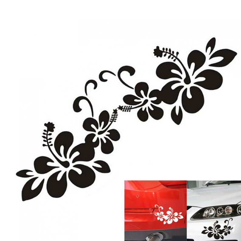 The Whole Body 1 Pair Plant Flower Bumper Personalized Creative Car Sticker Black / Silver