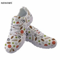 INSTANTARTS Breathable Woman Spring/Autumn American Soccerly Pattern Students Lace Up Flats Shoes Casual Lightweight Footwear