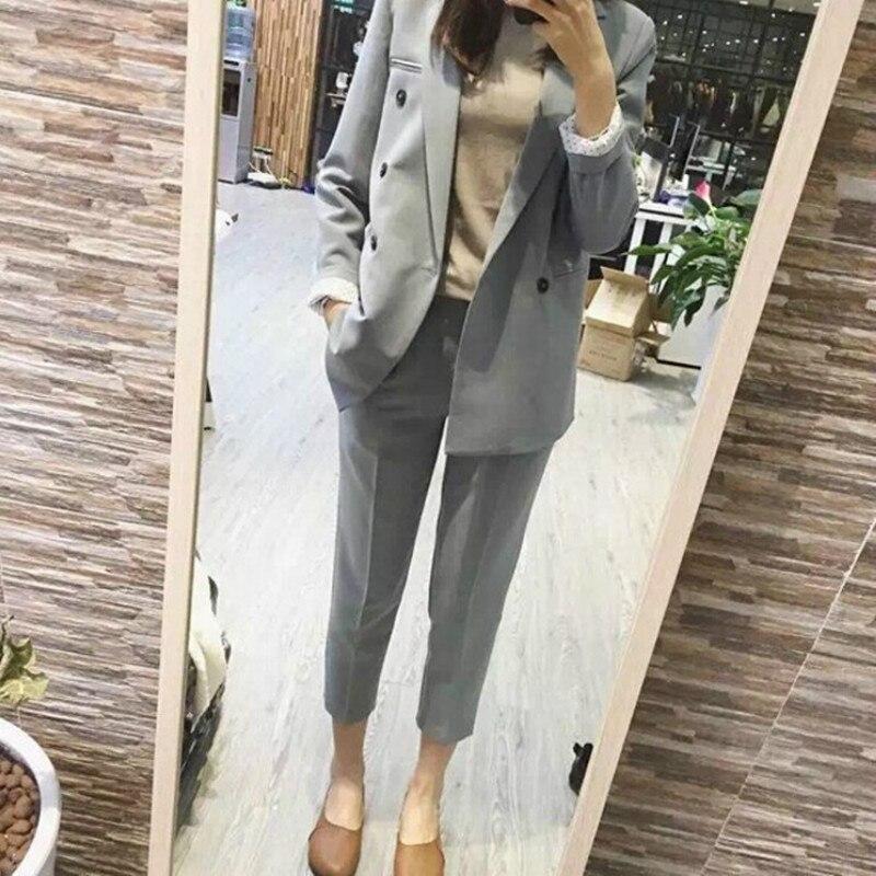 Office Suits For Women Trouser Suits High Quality Fashion Long Sleeve Blazer Female Casual Nine Pants Women's Suit 2019
