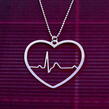 Heart Beat Necklace Heart rhythm EKG Valentines Day Silver Plated Chain For Women Pendant Fashion jewelry woodgrain heart pattern valentines day door stickers
