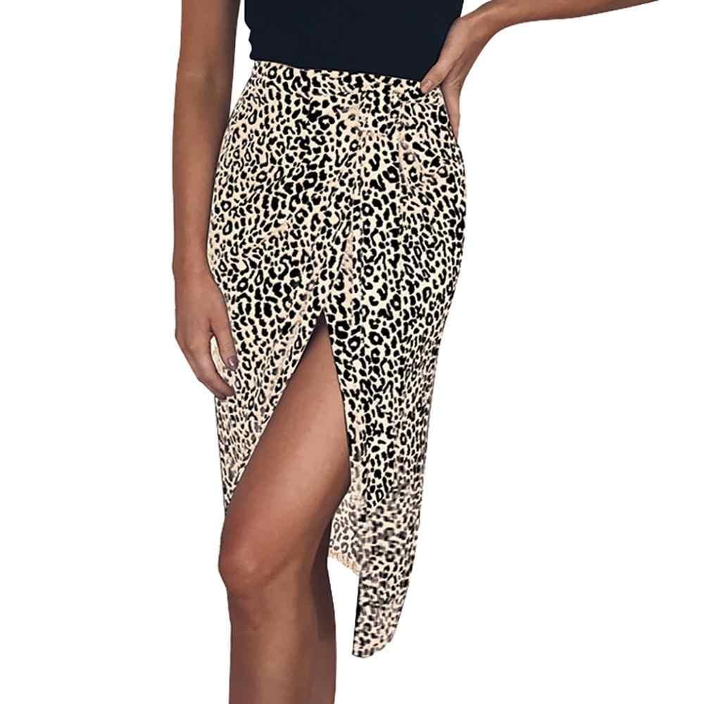 Модная Асимметричная юбка, уличная одежда, женская одежда, 2019, винтажная длинная леопардовая расцветка, миди, женские осенние юбки, высокая H4