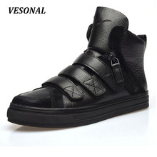 VESONAL 2017 Brand British Style Men Boots Ankle 100% Genuine Leather High Quality Fashion Motorcycle Martin Casual Men Shoes