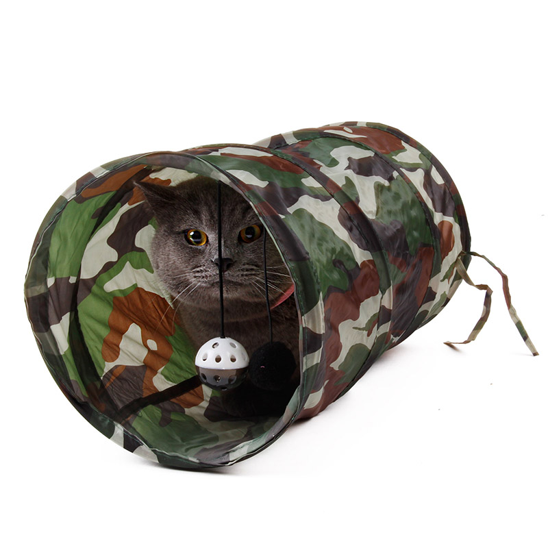 Pet Tunnel Cat Animals Collapsible Tunnel Camouflage Color Funny Kitten Tunnel 2 Balls Play Bulk Cat Toys Hot!! Sleeping Place
