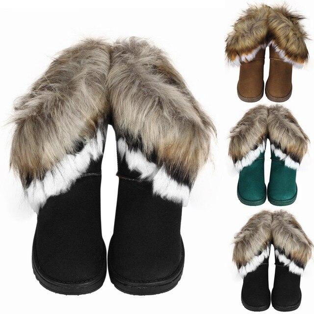 Thời trang Phụ Nữ Khởi Động Phẳng Mắt Cá Chân Lông Lót Mùa Đông Ấm Tuyết Giày