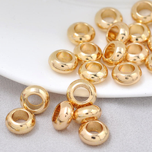 6PCS 10*5MM hole 5MM 24K Champagne Gold Color Brass Bracelet Wheel Spacer Beads High Quality Diy Jewelry Accessories