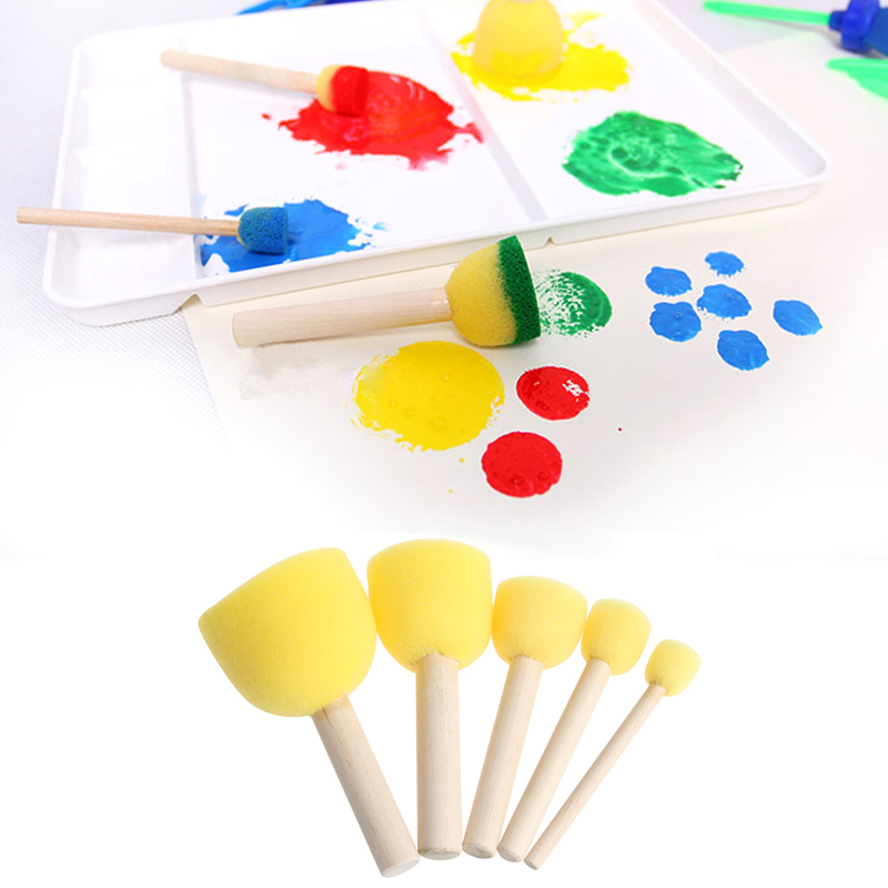 Free Shipping 5Pcs Round Sponge Brush With Wood Handle Art Graffiti Painting Tool Toy Children