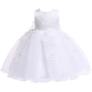 Image 3 - Newborn Baby Girls Christening Dresses Infant Toddler Baptism Gown Children Wedding Party White Frocks Birthday 1 Year Outfit