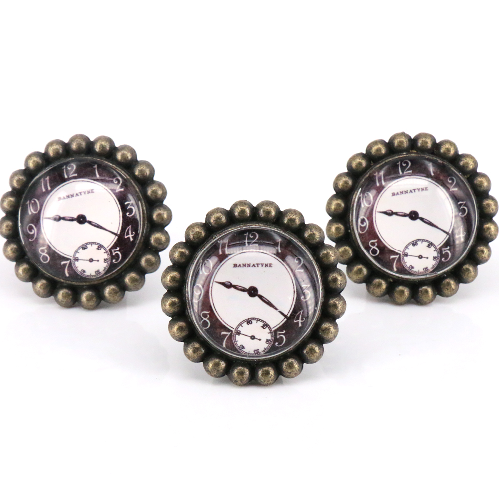 5pcs 20mm Bronze Vintage Antique Cabinet Door Kitchen: 5PCS Vintage Bronze / Glas Knobs Drawer Pulls Clock