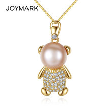 JOYMARK Zircon Pave Cute Bear Freshwater Pearl Pendant Necklace With 925 Silver Chain High Quality Jewelry Christmas Gift JPN308(China)