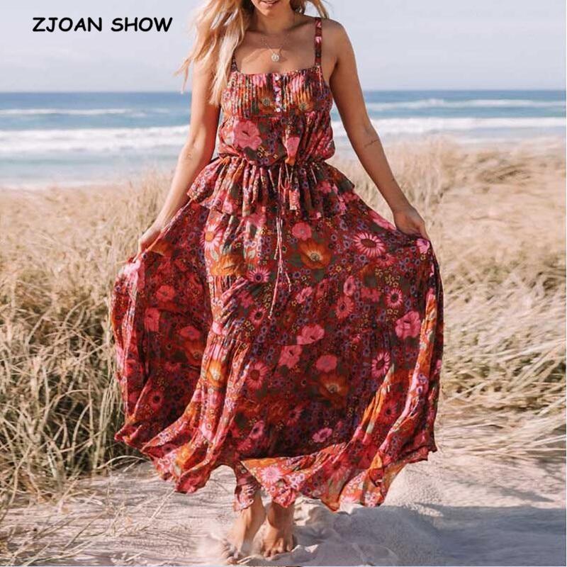 2019 New Bohemian Red Daisy Floral Print Camis Crop Top Sexy Women Ruffles Hem Rayon Elastic Waist Skirt BOHO Tops 2 Pieces Set