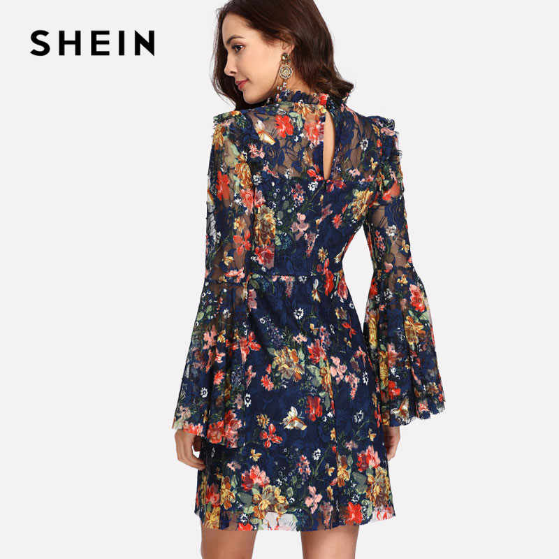 f65730ee039 ... SHEIN Flower Print Swing A Line Summer Dress Long Sleeve Spring  Multicolor Floral Calico Print Keyhole ...