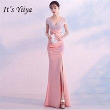 Its Yiiya Pink evening dress zipper back Floor-length Mermaid long party Gowns V-neck Short sleeve Beading Prom dresses C076