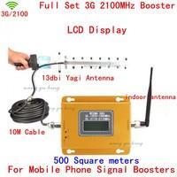 70dB LCD Booster !! Mini 3G W CDMA UTMS 2100Mhz Mobile Phone Signal Booster , WCDMA 3G Signal Repeater + 13db Yagi Antenna 1 Set