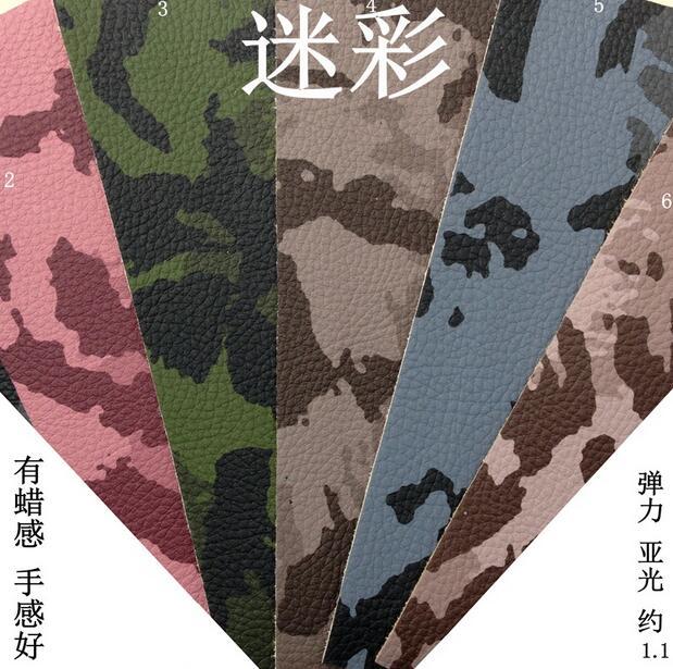 Tissu d'ameublement de siège, sofa en cuir d'unité centrale de Camouflage, tissus en cuir synthétique imprimés pour des meubles, cuir de sac de voiture d'impression, ZJ003