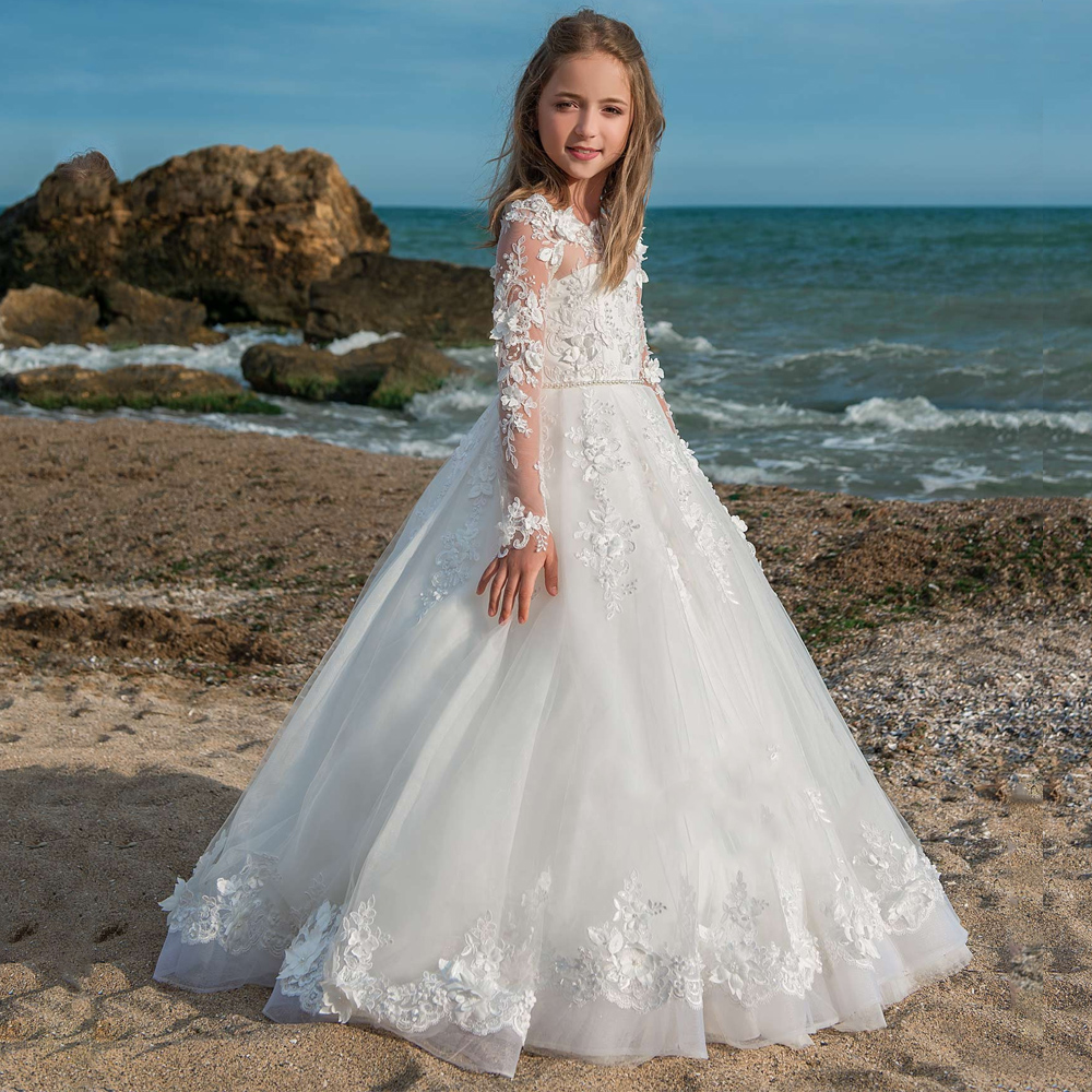 New Arrivals Flower Girls Wedding Dresses Long Sleeves Ball Gowns with Pearls Sash Holy First Communion Princess Dresses