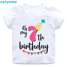 Cutyome Toddler Kids Happy Birthday T Shirts White Boys Girls Clothes Number 1-9 Print Funny Shirt Gifts 3 7 8 9 Tops