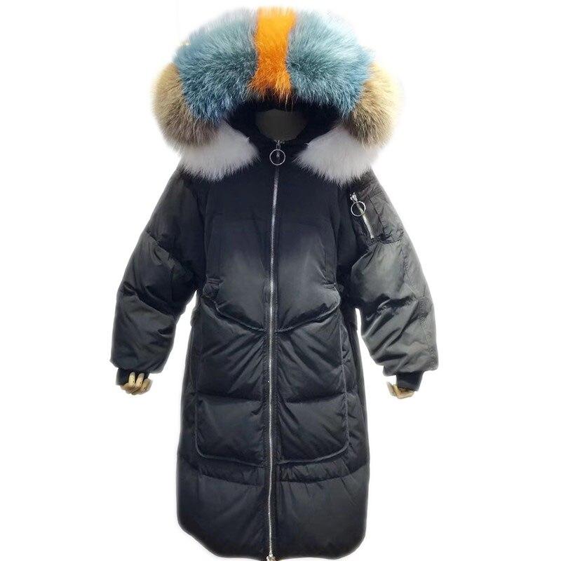 Loose Parka Long   Down   Jacket Women Winter Color Fur Hooded Warm Duck   Down     Coat   Woman Feather Jacket Winter   Down   Jackets NS742