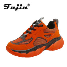 Fujin Sneakers Women Fashion Flat Bottom Dropshipping Lace Leisure Shoes Muffin Air Mesh Breathable Cross Tied