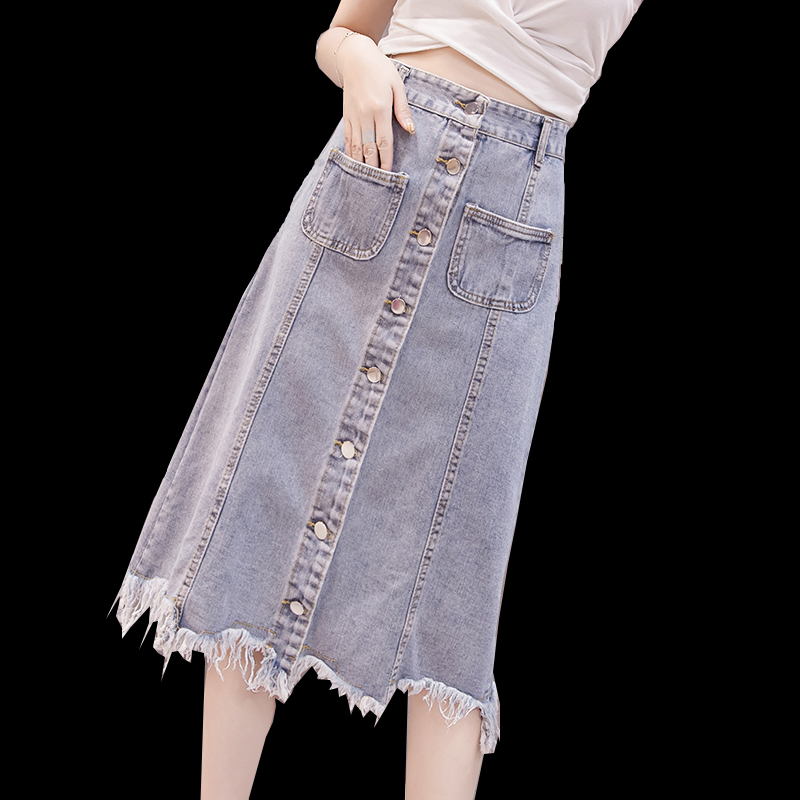 Summer Spring Female Womens High Waisted Button Fly Tassel Denim Skirt , Pockets Tassel Irregular Long Jeans Skirts For Women
