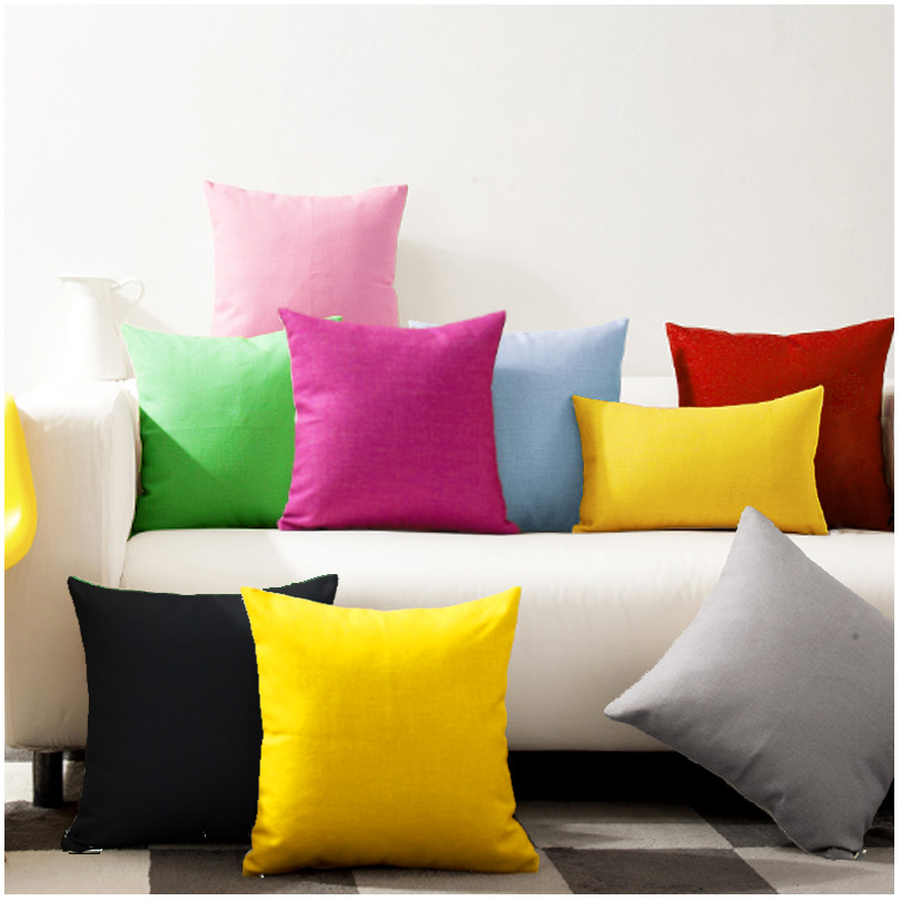 30x45/45x45/<font><b>50x50</b></font>/60x60cm solid color cotton canvas <font><b>pillowcase</b></font> sofa large cushion covers decorative throw pillow cover image