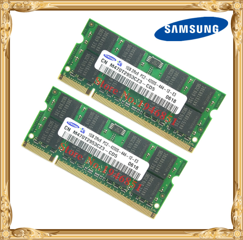 Samsung Laptop Memory 2GB 2x1GB 533MHz PC2-4200 DDR2 Notebook RAM 533 4200S 1G 200-pin SO-DIMM