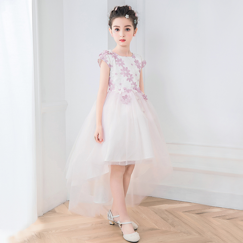 White SleevelessFlower Girl Dress Tulle Kids Holy Communion Dress Asymmetrical Pageant Dresses for Girls Long Kids Prom Puffy original uhp bulb inside projectors lamp ec j5500 001 for acer p5270 p5370 p5370w p5280 projectors