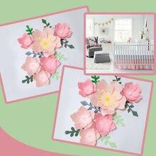 Handmade Pink Rose DIY Paper Flowers Green Leaves Set For Nursery Wall Deco Girls Room Baby Shower Backdrop Video Tutorials