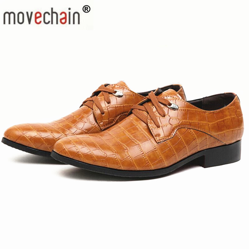 edfa16e6e6a Detail Feedback Questions about movechain Mens Leather Lace Up Office Shoes  Men s Dress Flats Imitation alligator Man Casual shoes Wedding Party  Business ...