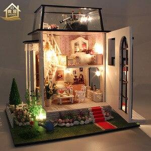 Мебель ручной работы большой кукольный домик Diy Миниатюрный 3D Деревянный миниатюрный кукольный домик игрушки для детей Рождественский под...