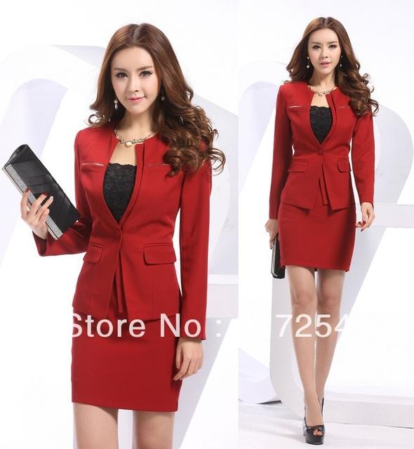 2014 mais novo Plus Size XXXXL Red primavera verão mulheres de carreira ternos trabalho negócios desgaste de manga comprida uniforme casaco e saia define